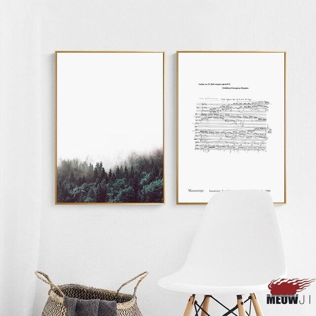 US $4.37 27% di SCONTO Poster Da Parete di Arte Stampata Su Tela Pittura  Per Soggiorno Nordic Decorazione Chopin Musica Nota Foresta Mare Della ...