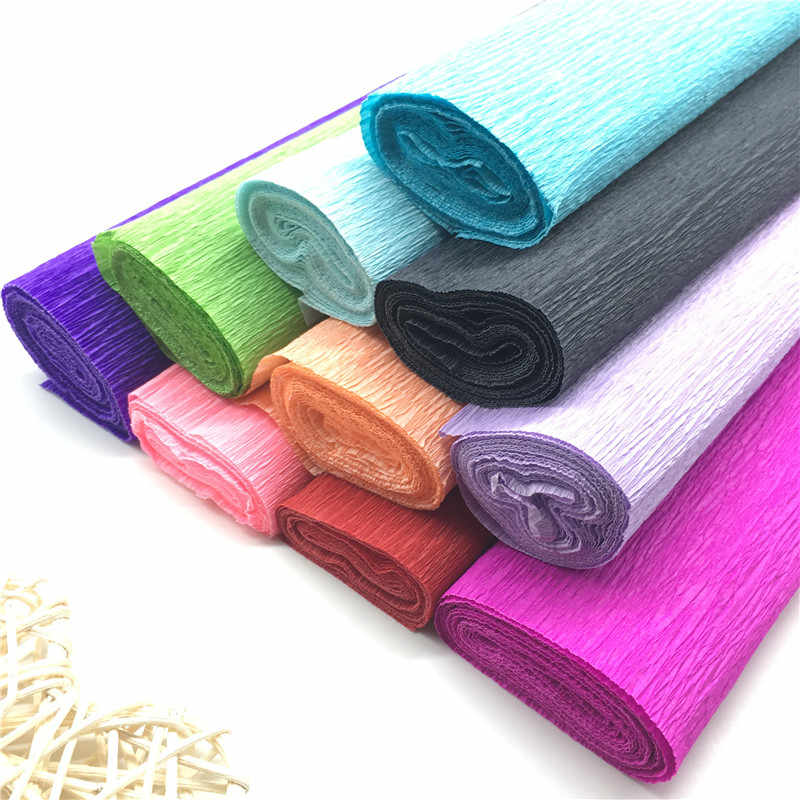 250*50 CM Colorato Crepe Rotolo di Carta Origami Increspato Crepe di Carta FAI DA TE Fiori Decoration Gift Wrapping Paper Craft