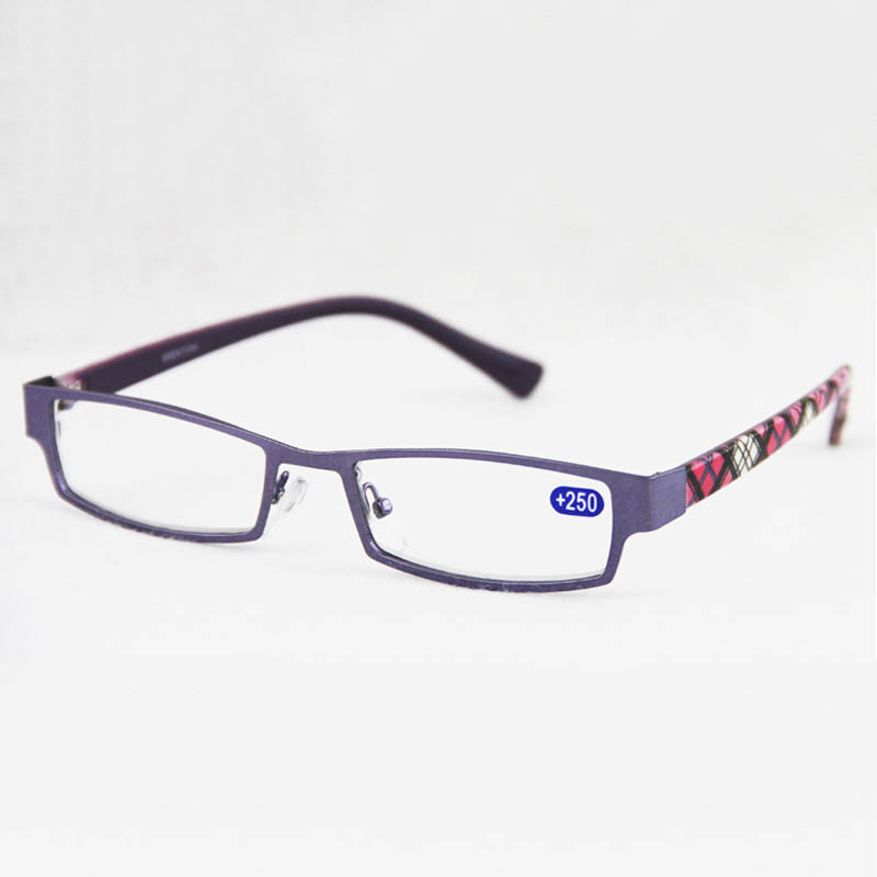 Slim Purple Young Reading Glasses Men Women Clear Lens Metal Frame Presbyopic Eyeglasses Diopter2.0 3.5 Watch Resin Oculos Retro