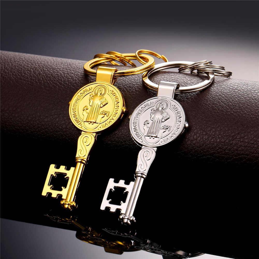 U7 Hot Key Medal świętego benedykta mężczyźni breloki Anime nowy złoty kolor kobiet klucz wisiorek brelok z pudełkiem K006