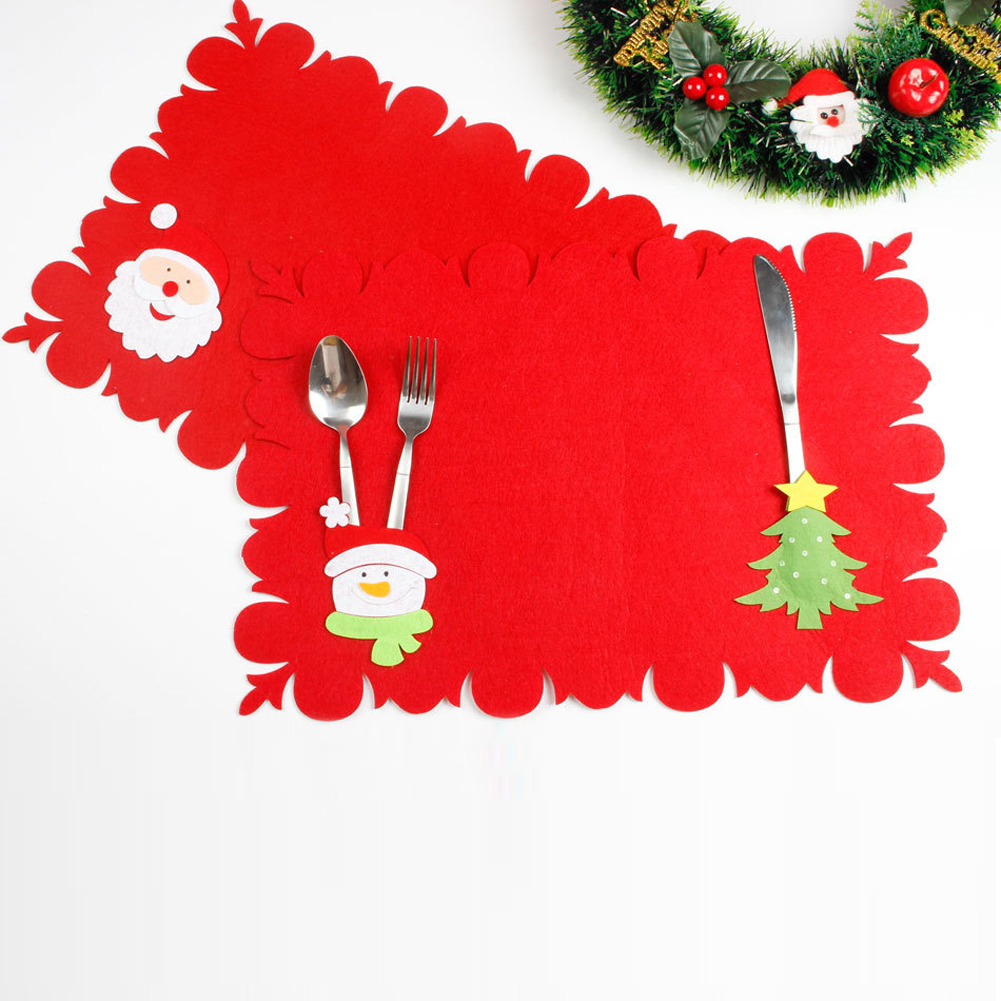 Christmas Table Mats And Fork Tableware Placemat Sets of Dual-use Non-woven Fabric Table Mats Home Restaurant Hotel Dinner
