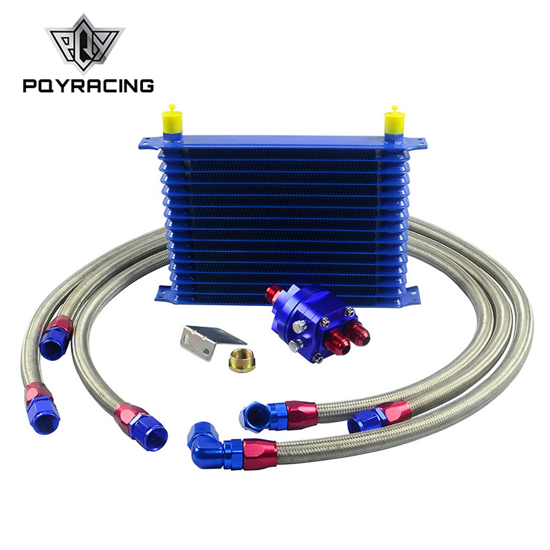 цена на PQY - Universal Oil Cooler Kit 15 Row 10AN Aluminium Engine Transmission Oil Cooler Relocation Kit
