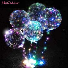 Bolas iluminadas de 20 polegadas, balões transparentes com fio de luz de led, para decoração de festas infantis, casamentos, aniversários e natal