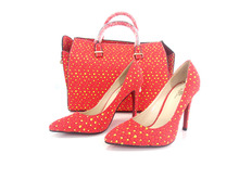 NT01 RED for hanbag set High quality matching Italian shoes and bag set for evening party in point toe sandals and clutch bag