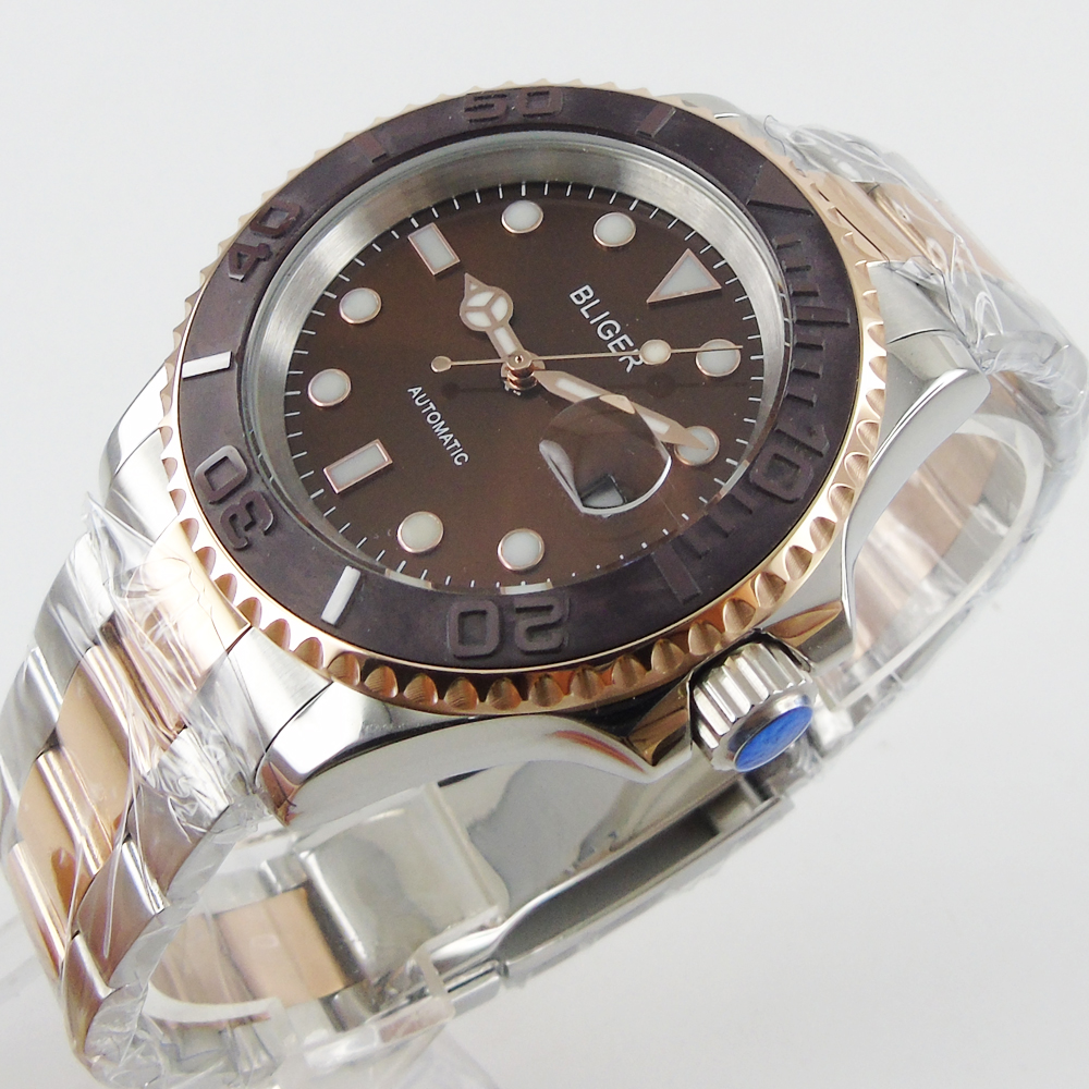 40mm Bliger coffee dial ceramic bezel date automatic movement mens unsex watch цена и фото