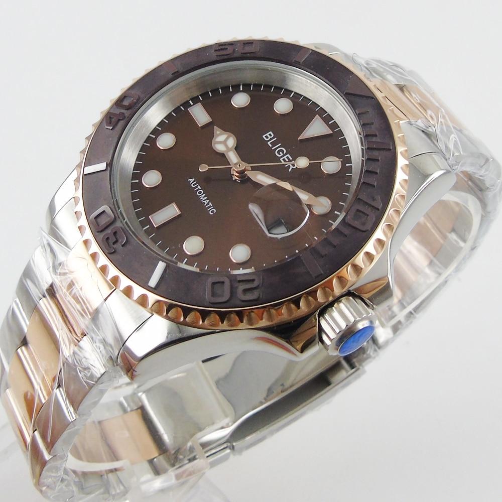 лучшая цена 40mm Bliger coffee dial ceramic bezel date automatic movement mens unsex watch