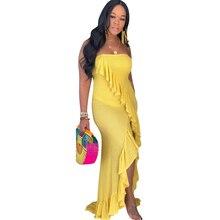Hot Sexy Tube Top Dress Ruffled High Split Irregular Long Yellow Orange Blue