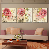 3 Piece Wall Art Abstract Painting Pink Rose Flower Canvas HD Prints Picture Modern Home Decor