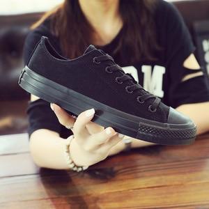 Image 3 - Chaussures en toile vulcanisées noires, blanches et jaunes pour femmes, baskets tendance, chaussures plates grande taille 35 46, collection chaussures décontractées