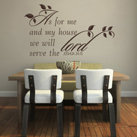 As For Me And My House We Will Serve The Lord JOSHUA 24:15 Scripture Wall Decal 66cm x 117cm