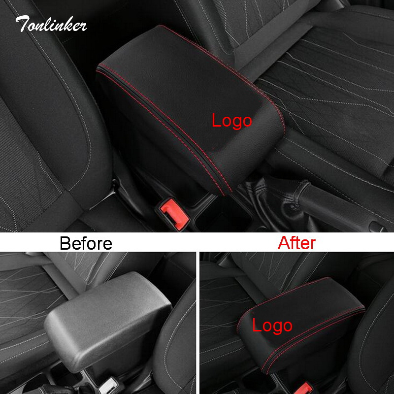 Tonlinker Cover Stickers For Ford Ecosport 2018 Car Styling 1 PCS PU Leather Armrest Protection Anti-dirty Pad Cover Stickers