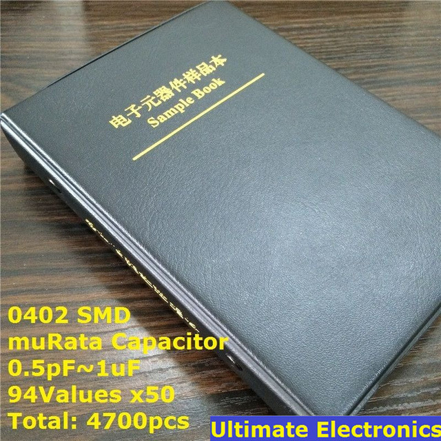 0402 Japan muRata SMD Capacitor Sample book  Assorted Kit  94valuesx50pcs=4700pcs (0.5pF to 1uF)