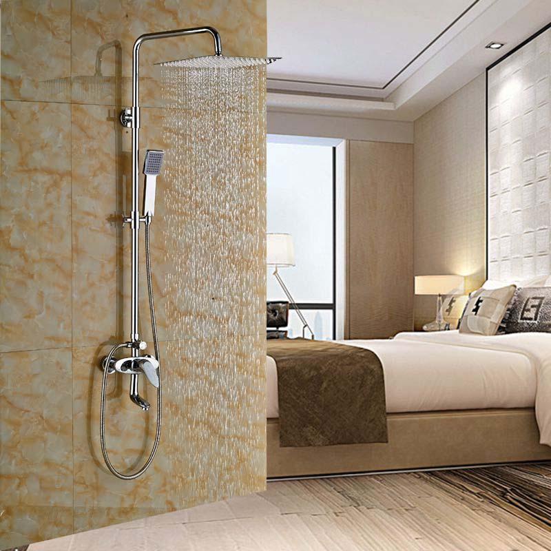 Modern Chrome Brass Rain Shower Faucet Tub Spout 10 Rain Shower Sprayer Mixer poiqihy chrome rain