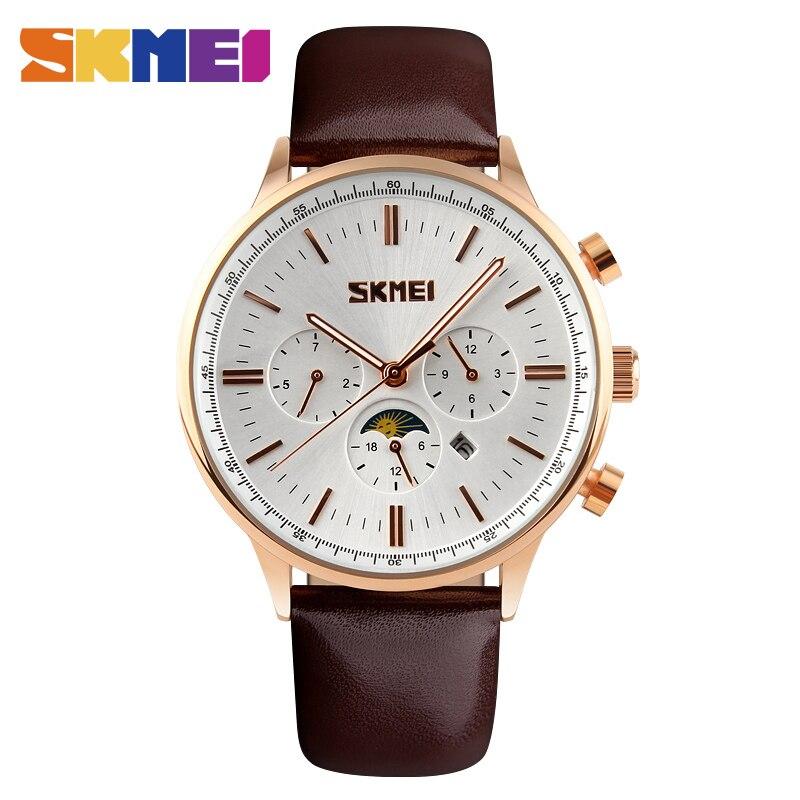 SKMEI 9117 Men Quartz Watch Fashion Casual Watches Analog Waterproof Leather Casual Watch Relogio Masculino Top Brand analog watch