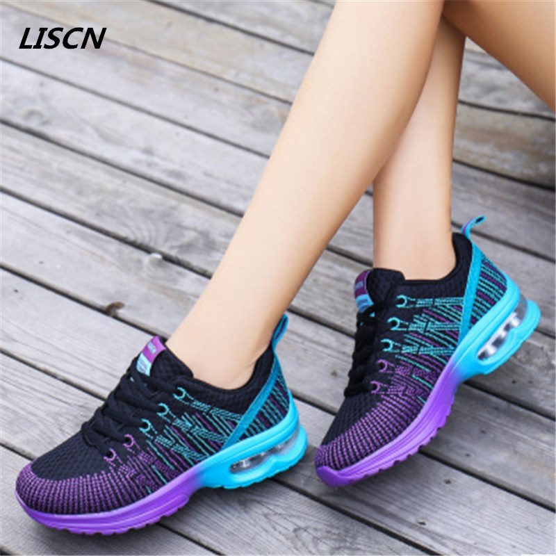 2018 Women Breathable mesh Casual shoes Woman Flat platform shoes Air damping fashion zapatillas mujer casual tenis feminino pinsen 2017 summer women flat platform sandals shoes woman casual air mesh comfortable breathable shoes lace up zapatillas mujer