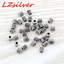 Hot Sale !  1000pcs 3.5x 4.8mm Antique Silver Zinc Alloy Spiral tube beads Spacer Bead Findings DIY Jewelry D22