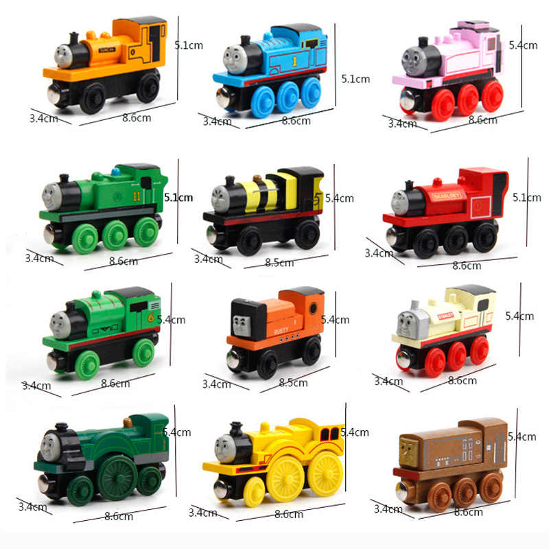Wooden Locomotive Trains Toys Cartoon Vehicles Railway Car Accessories Wood Magnetic Cars Trains Model for Children Kids Gift