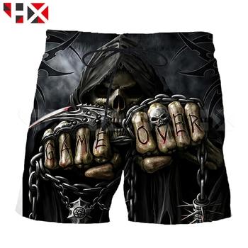 Summer Grim Reaper Shorts 3D Printed Women Men Shorts Skull Head Harajuku Streetwear Style Beach Shorts Z6 1