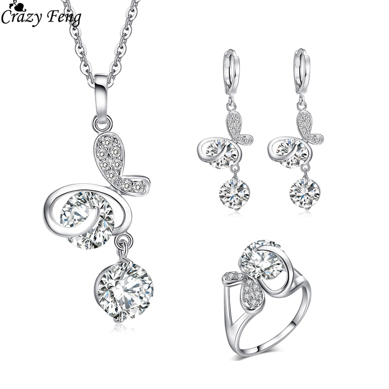 Hot Valentine s Gift Sliver Color Engagement Rings For Women Cz Drop Earrings Necklaces Pendants Wedding