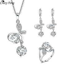 Sliver Plated Engagement Rings For Women Cz  Drop Earrings +Necklaces Pendants Wedding Jewelry Sets Valentine's Gift
