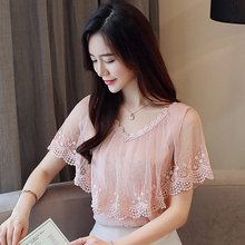 Women Tops and blouses summer lace Blouse shirt fashion women's blouses New 2018 lace ruff short sleeve Blouse female 824A2