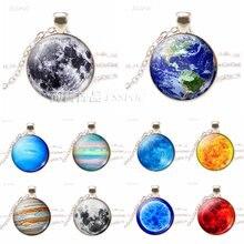 Ожерелье с космическим солнцем «Земля Юпитер» серебряная подвеска