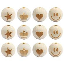 20pc 19X20mm Natural Round Wooden Beads Heart/Smile Face/Elephant/Footprint Pattern Wood Beads For Diy Jewelry Making(China)