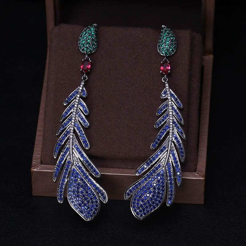 Luxury AAA cubic zirconia feather shaped multi colour big drop long earrings ,brilliant fully-jewelled pave setting earrings rhinestone feather fan shaped boho jewelry earrings