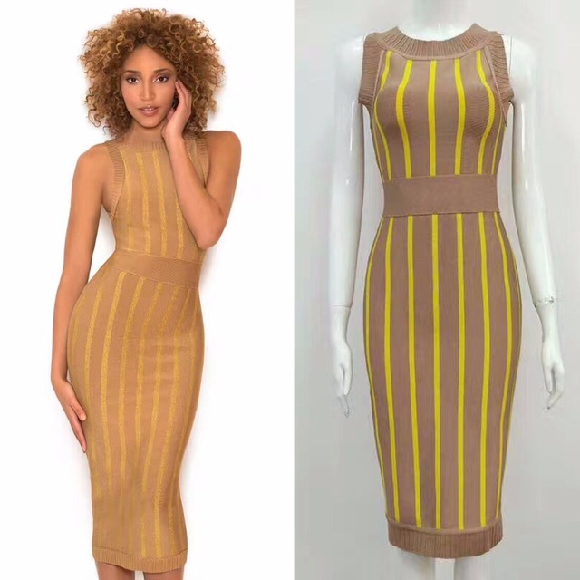 beec51714942 2017 Long Khaki Women Striped Dress Sleeveless Midi Elegant Bodycon Bandage  Dresses Summer Evening Party Wear