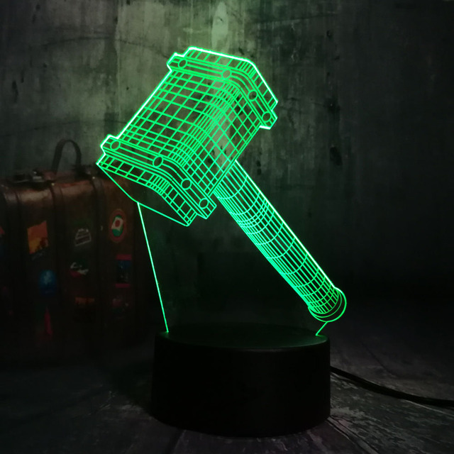NEW Novelty Cool Big Thor Hammer 3D 7 Color Change Night Light Table  Multicolor Remote Desk Lamp Kids Birthday Christmas Gift 24e7c276479e