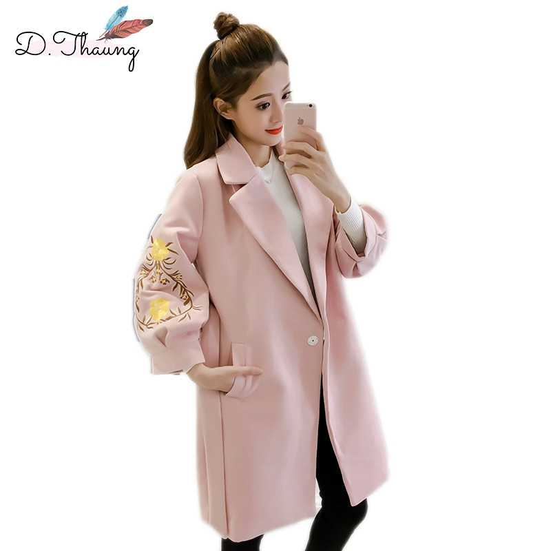 Spring Autumn Women Outerwear 2019 Embroidery Mid-Long Female Woolen Coat Dark Buckle Lantern Sleeve Ladies Woolen Jacket Qw035