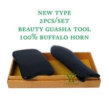 New Arrival 100% buffalo horn thicken high polishing beauty guasha tool 1pcs square + 1pcs fish plate цена в Москве и Питере