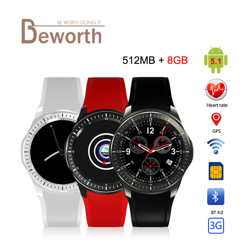 DM368 Bluetooth Smart Watch 3G MTK6580 Android 5 1 Quad Core 512MB 8GB Heart Rate Monitor
