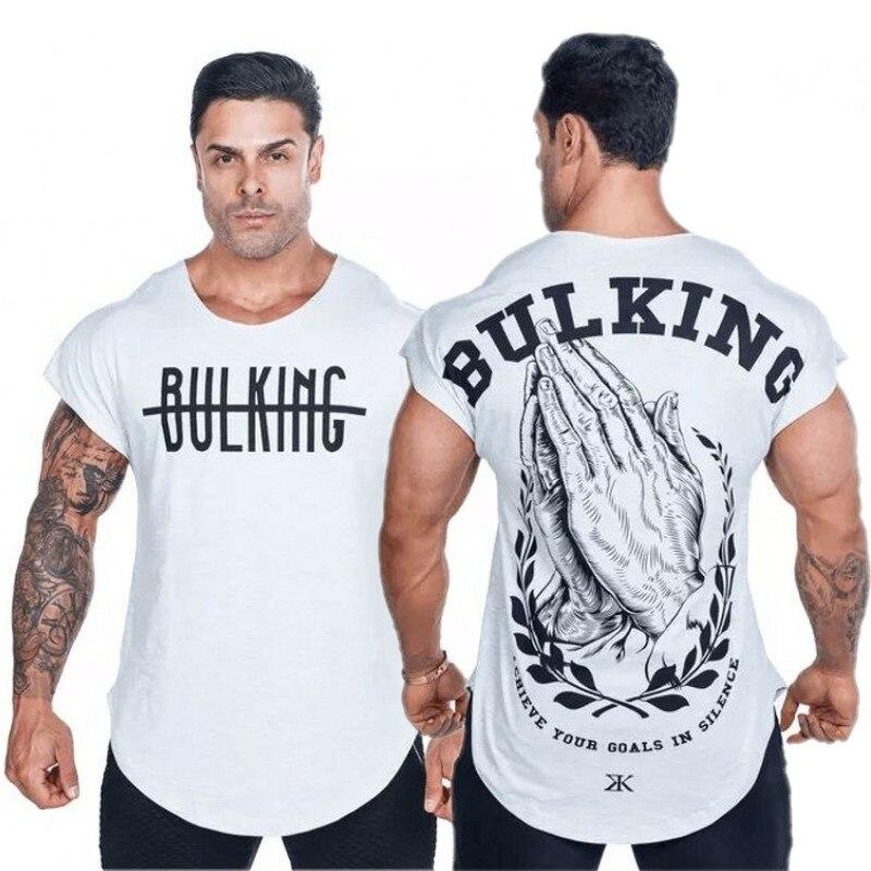 2018 Nuovo Marchio di abbigliamento Palestre Stretto t-shirt mens t-shirt di fitness homme Palestre uomini della maglietta di fitness parti superiori di Estate