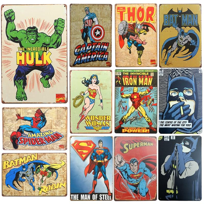 New SuperHero Batman Chic Home Bar Vintage Metal Signs Home Decor Vintage Tin Signs Pub Vintage  sc 1 st  AliExpress.com & New SuperHero Batman Chic Home Bar Vintage Metal Signs Home Decor ...