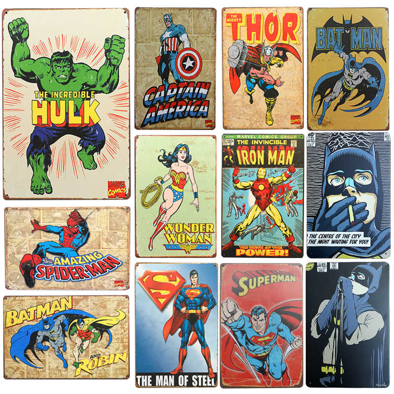 New SuperHero Batman Chic Home Bar Vintage Metal Signs Home Decor Vintage Tin Signs Pub Vintage Decorative Plates Metal Wall Art