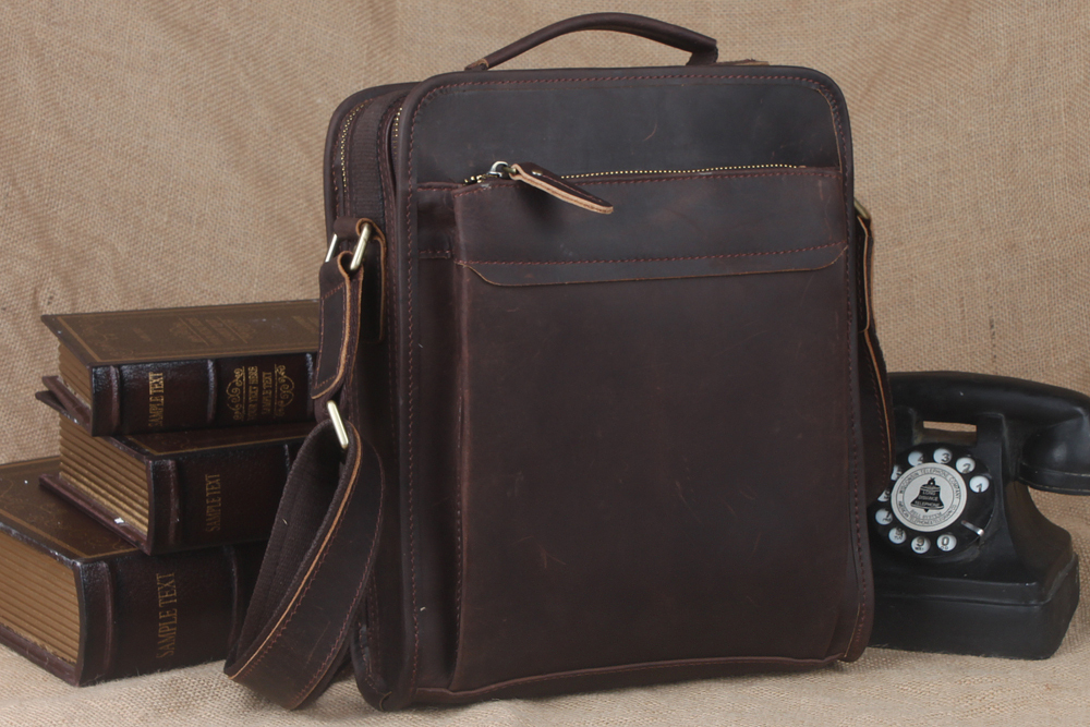 Top Quality Vertical Real Leather Messenger Bags Mens Casual Tote Organizer  Bag Crazy Horse Leather Crossbody Bag Vintage Brown
