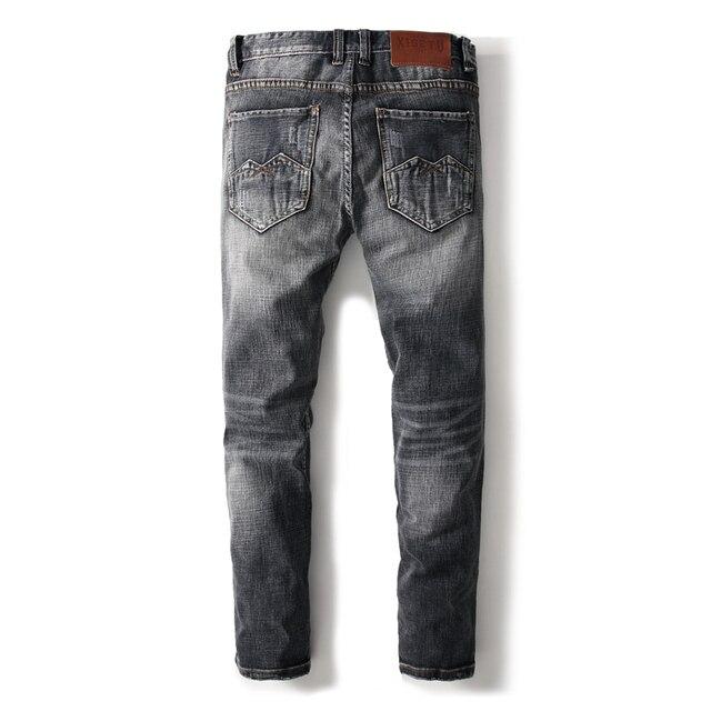 ahorrar 5b0c5 41d4a € 63.48  Ropa de marca de estilo Preppy de alta calidad para hombre  Pantalones vaqueros grises desgastados de media raya Slim Fit Denim Ripped  Jeans ...