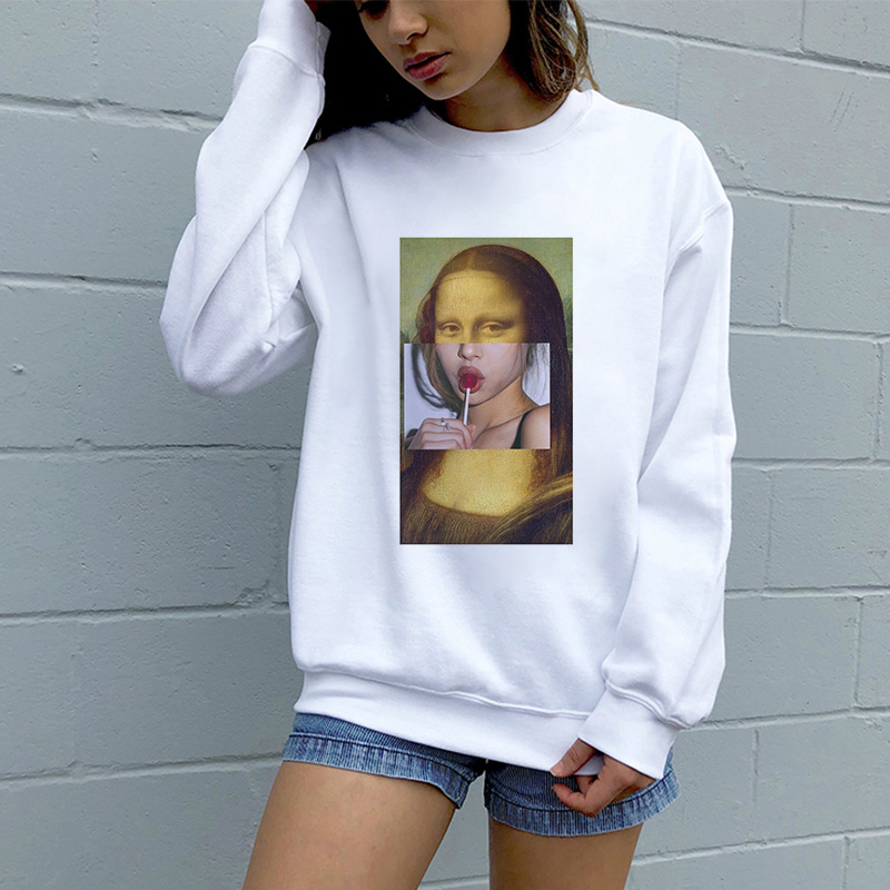 2019 New Fashion Women White Hoodies Funny Pulp Fiction Print Long Sleeve Sweatshirt O-neck Cartoon Spoof Casual Harajuku Hoodie