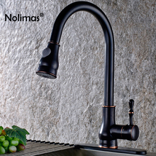 Brushed Brass Kitchen Faucet Black Finish Solid Pull Out Kitchen Mixers Tap 360 Degree Rotation Cold