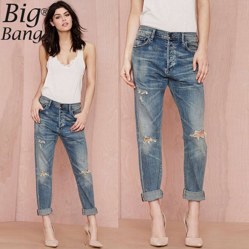 Aliexpress.com : Buy Distrressed Cut Out Knees Women Jeans Plus ...