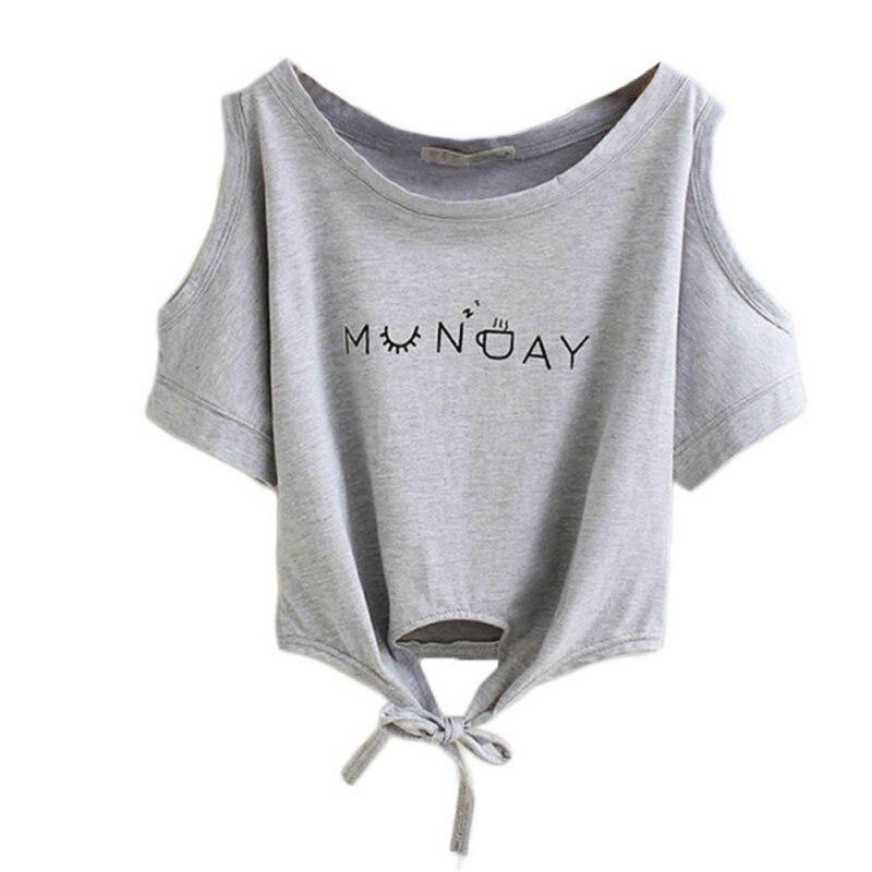 Las mujeres Ropa de Verano Camiseta de Las Mujeres Carta Elegante Hombro Off Blu