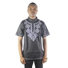 Africa Black Ethnic Embroidered Men`s Dashiki Tops Mandarin Neck Side Slit Folk Shirts for Summer Wearing embroidered high low slit side blouse