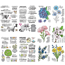 Various Flowers Skunk Raccoon Animal Words Clear Silicone Stamp for Scrapbooking DIY Photo Album Decorative Card Making New 2019
