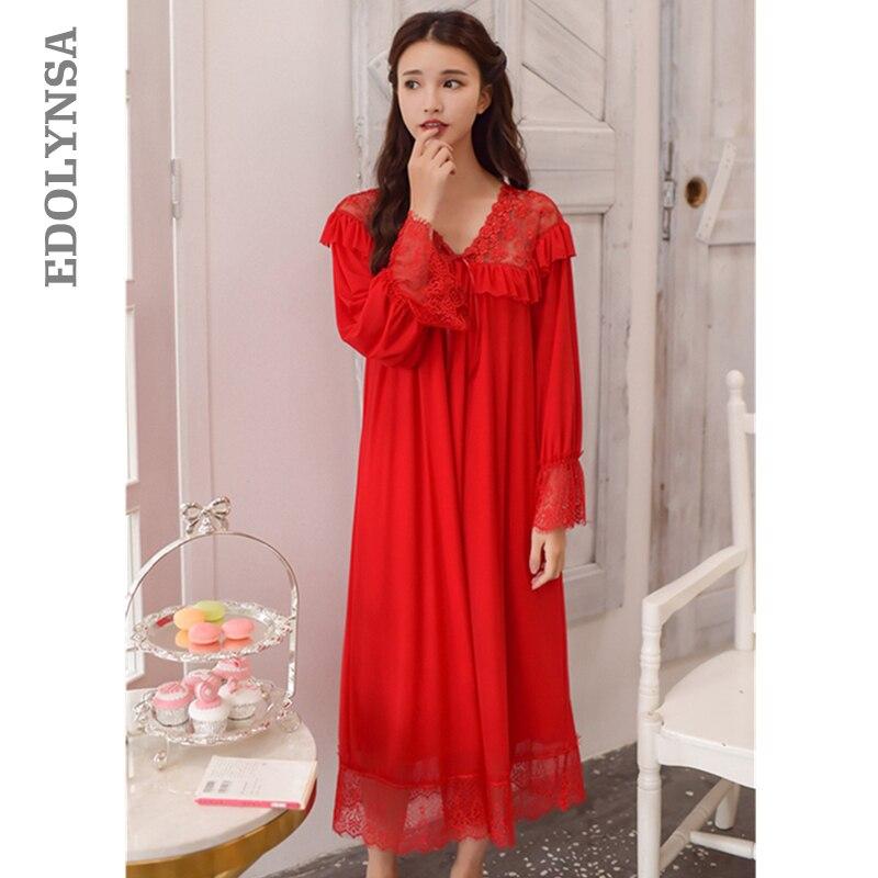 Red Satin Sleepwear 2019 Women Autumn Vintage Nightgowns Sleepshirts V Neck  Flare Sleeve White Lace Night Dress For Wedding T279-in Nightgowns    Sleepshirts ... 80a8892c9