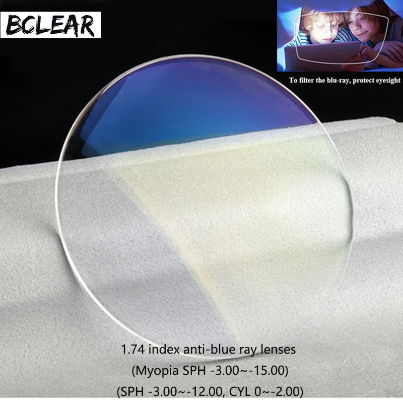 BCLEAR New 1.74 High Index Thin Anti Blue Ray Lenses Single Vision Lens Myopia Blue Light Blocking Eyes Protection Glasses Hot