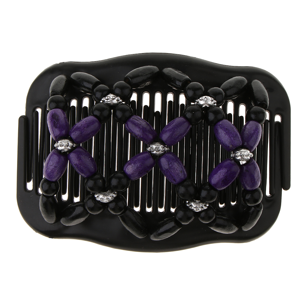 New Vintage Elastic Hairpin Stretch Hair Comb Flower Decor Beaded Hair Magic Comb Clip Beads Pin Ladies Hair Styling Tool