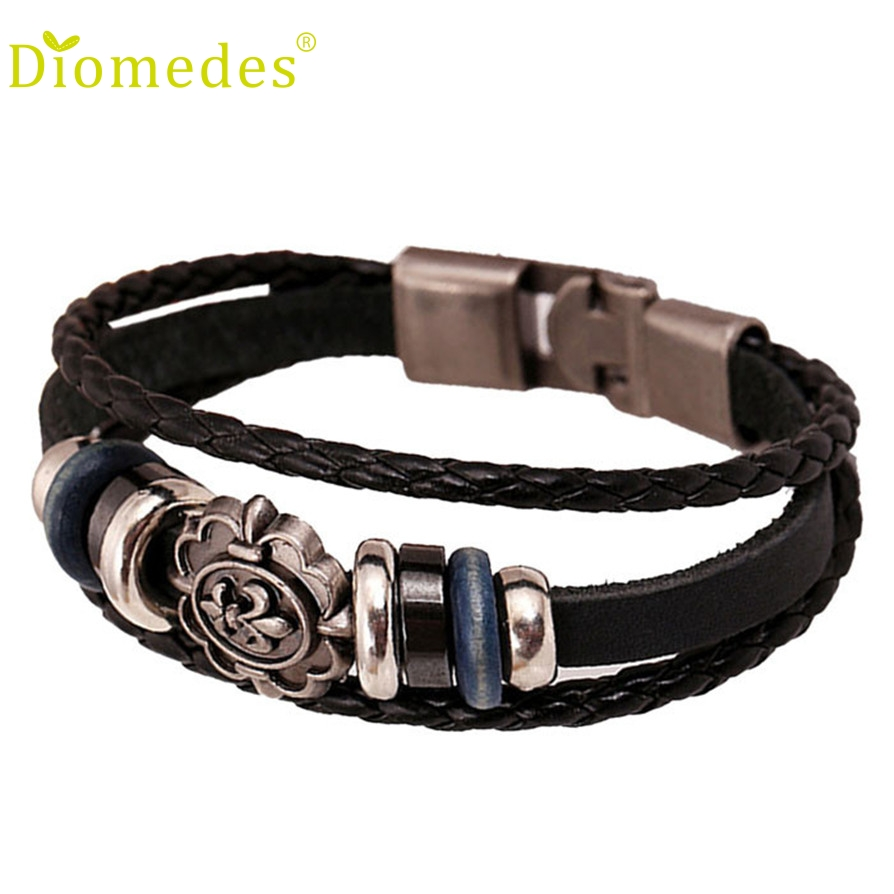 Gussy Life Wholesale New Leather Korea Fashion Punk bangles Stainless Steel Fittings For men or friend gift Dec627