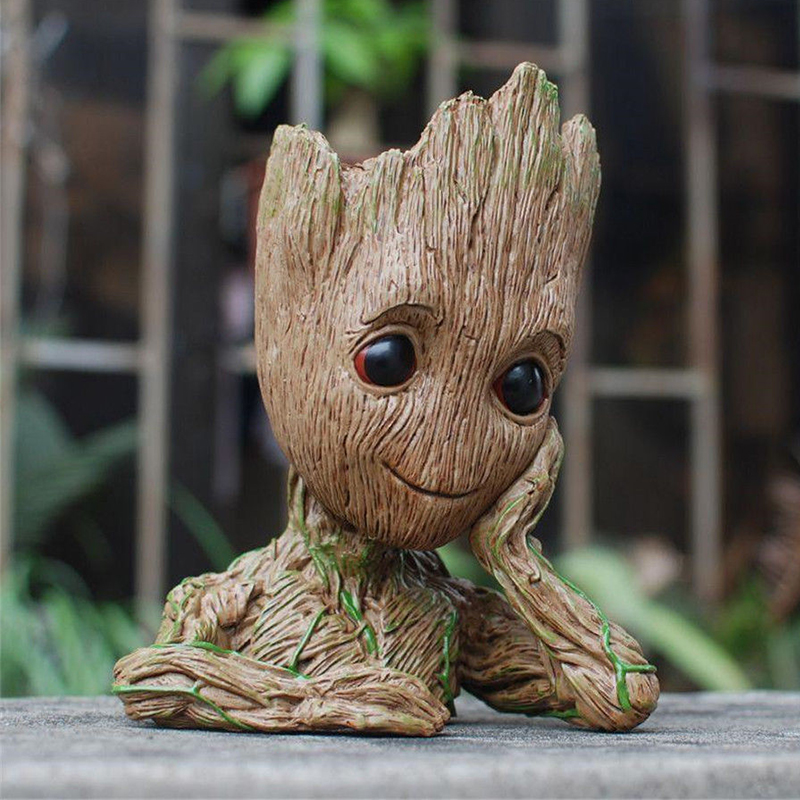 Tree Man Action Figure Doll Phoneholder Flowerpot Grunt Guardians of The Galaxy 2 Baby Model pen and flower pot Toy