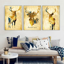 Hight Quality Nordic Poster Pastoral Cute Animals Canvas Painting Elk Peafowl Feather Home Decor Decoration No Frame